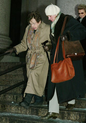 MARTHA STEWART'S MOTHER LEAVES FEDERAL COURT AFTER FIRST DAY OF TRIAL.