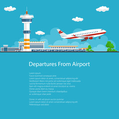 Poster Airplane Takes Off from the Airport ,Control Tower and Airplane on the Background of the City and the Text, Brochure Flyer Design, Air Travel and Transportation, Vector Illustration