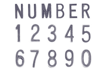 Silver Font Number 1 to 0, Retro style font face or Font type