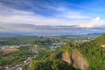 beautiful view point at Golden Buddha meditating - the Tiger Temple in Krabi Thailand