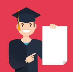 Portrait of student showing diploma. Happy graduate student with diploma in his hand isolated on red background. Vector flat illustration