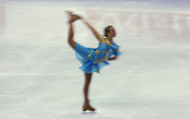 -PHOTO TAKEN 19JAN06- A competitor performs in the Ladies free skating program at the European figur..