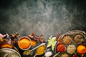 Bottom border of assorted culinary spices