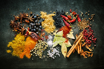 Food still life of aromatic and pungent spices