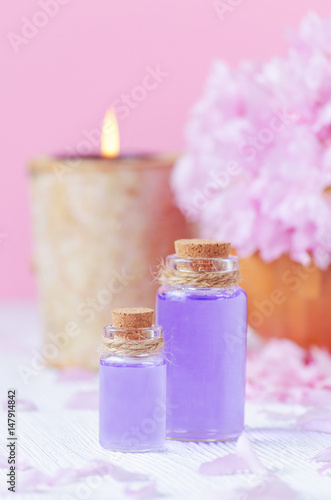 Pink Color Spa Concept Lavender Oil Vertical Stock Photo And