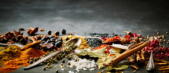 Panoramic banner of assorted spices