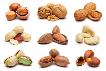 Papiers peints Graine, aromate Collection of various nuts on white.