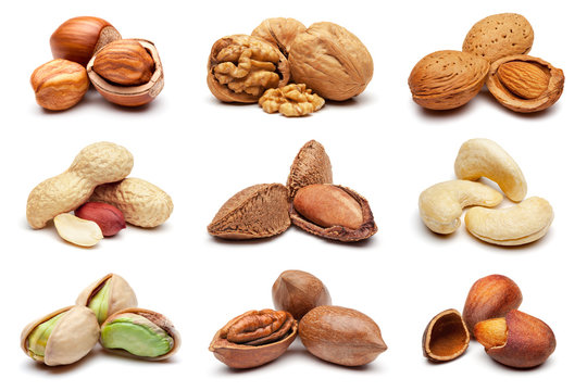 Collection of various nuts on white.