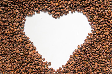 love coffee, Brown coffee beans isolated on white background, roasted coffee beans isolated in white background cutout