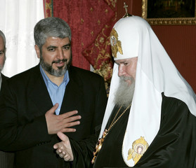 Palestinian Hamas leader Meshaal meets the Russian Orthodox patriarch Alexiy II at his residence in Moscow