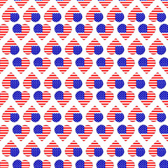 Seamless pattern with  hearts from american flags on the white background