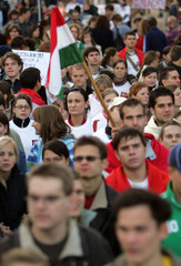 Hungarian students demonstrate against the implementation of tuition fees in Budapest's castle area