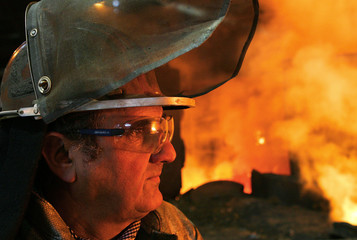 Richard Contreras, working at Arcelor steel plant Cockerill Sambre for 32 years, looks at a furnace ..