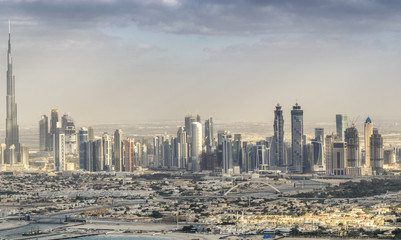 Helicopter view of Downtown Dubai at sunset