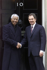 SOUTH AFRICA'S NELSON MANDELA MEETS TONY BLAIR IN DOWNING STREET.