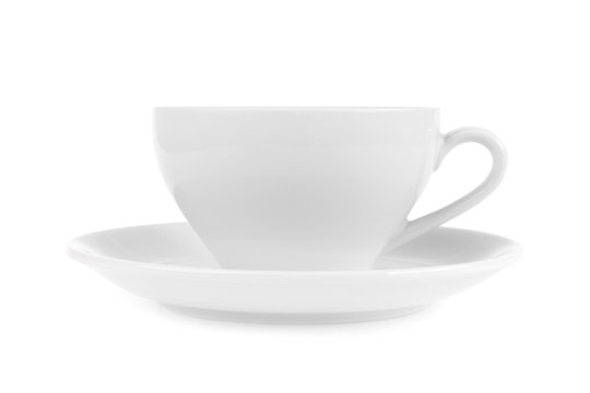 White coffee cup isolated on white background.