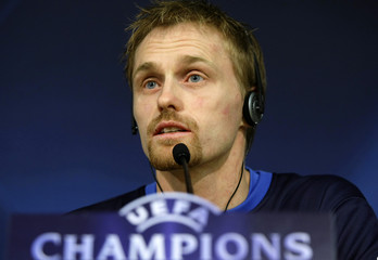 FC Zurich's Hannu Tihinen talks during a news conference at Santiago Bernabeu in Madrid