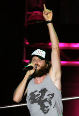 Italian artist Jovanotti performs at the Live 8 Italy concert inside Rome's Circus Maximus.