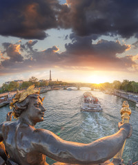 Wall Mural - Alexandre III bridge in Paris against Eiffel Tower with boat on Seine, France