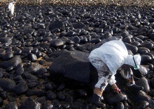 VOLUNTEERS CLEAN UP STAINED ROCKS ON SPAIN'S DEVASTED NORTH-WEST COAST.
