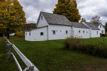 Restored White Barn in Park - Autumn / Fall Colors - Vermont