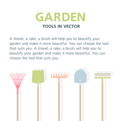 Garden tools: spade, and rake. Farming equipment. Instruments isolated on white background. Illustration for text
