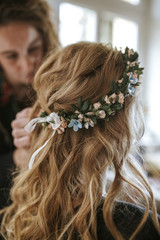 bridal hair wreath from the side