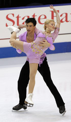 2005 champions Katie Orscher and Garrett Lucash perform at the U.S. Figure Skating Championships in Portland.