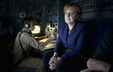 German Chancellor Merkel sits in the cockpit of a Transall C-160 during a flight from Mazar-I-Sharif to Termez in Afghanistan