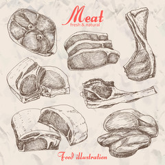 Set of hand drawn meat isolated on beige background