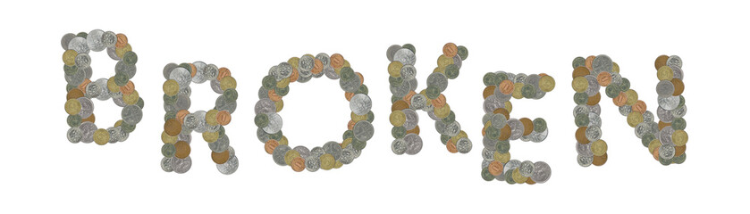 BROKEN – Coins on white background