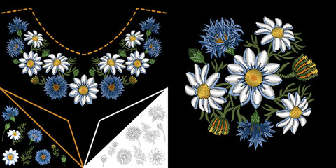 Embroidery neckline design. Collection of floral elements for dresses, shirts and blouses. Coloring outline drawing of daisy (chamomile) flowers and cornflowers.
