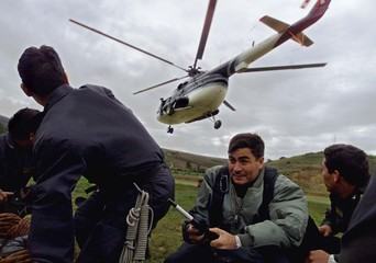 PERUVIAN POLICE OFFICERS WAIT FOR THE HELICOPTER IN LAMUD CITY.