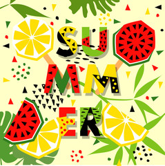 Summer banner with watermelon and lemon, place for text