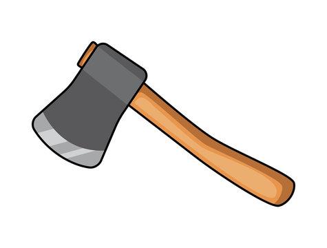 cartoon ax, hatchet vector symbol icon design.