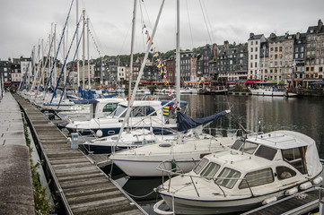 Pier with yachts in the French city of Honfleur