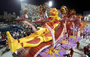 Carnival float from Salgueiro samba school parades up avenue at Sambadrome stadium in Rio de Janeiro