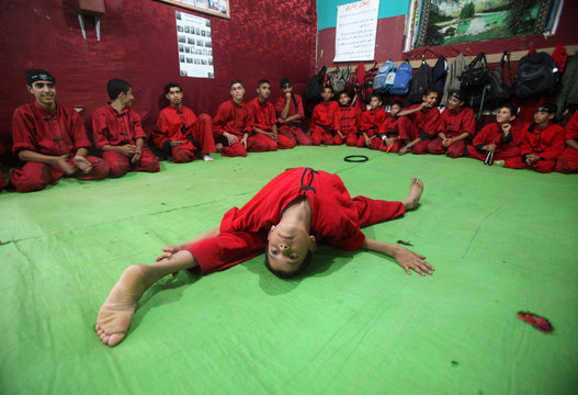 A Palestinian boy takes part in a class at a martial arts club in Beit Lahiya