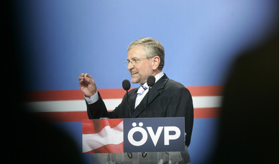 The Head of the Austrian Peoples party Molterer delivers a speech during an election rally in Linz