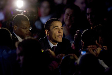 Democratic presidential candidate Senator Barack Obama (D-IL) greets supporters at the Heartland Presidential Forum in Des Moines, Iowa