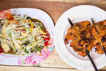 Papaya salad  Roast chicken