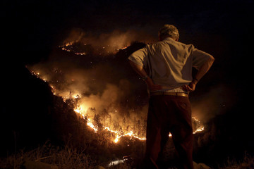 A man looks at a forest fire at Juncal de Tejeda village in the Spanish Canary island of Gran Canaria