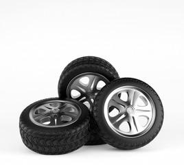 Car wheels on white background. 3d render