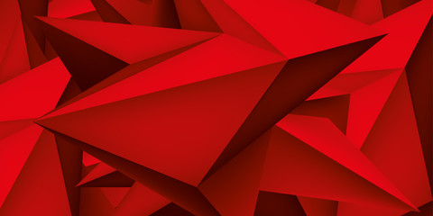 ПечатьVolume geometric shape, 3d crystal red background, abstraction low polygons wallpaper, vector design form
