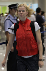 Germany's Britta Steffen, who is competing in the 50 and 100 meters freestyle events at the upcoming 2008 Olympic Games, arives at the Beijing airport