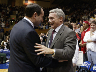 Duke University head coach Krzyzewski and University of Maryland head coach Williams talk in Durham