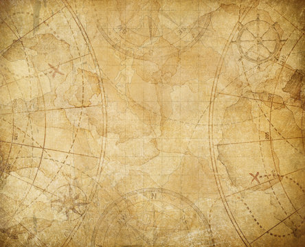 pirates treasure map background illustration