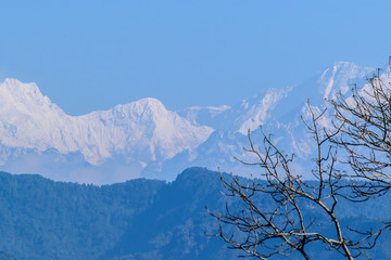 A view of kanchenjunga on a foggy weather.