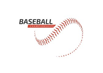 Red baseball ball logo on white background - Championship - Sports baseball competition