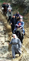 REFUGEES FROM MACEDONIA WALK TO ROJANE VILLAGE IN SOUTHEAST KOSOVO.